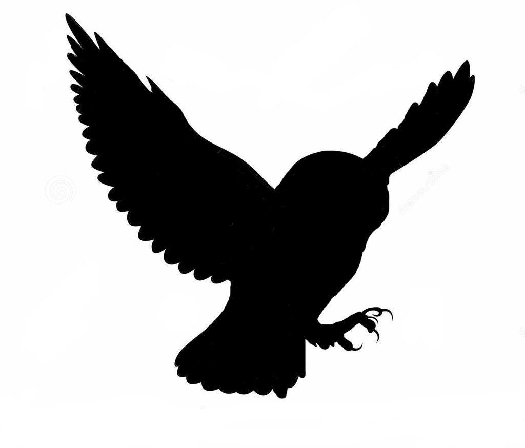 Landing Owl Silhouette Stencil Wall Wood Sign by Jennastencils