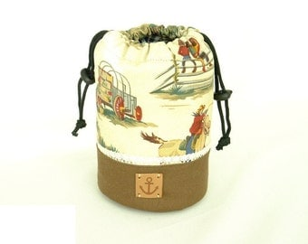 Camera Lens Case, Made to Order, Cow Boy Style