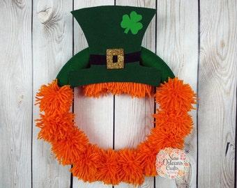St Patricks Day Yarn Wreath - Leprechaun Yarn Wreath - Orange Yarn Wreath - St Patricks Day Door Decor - Leprechaun Wreath