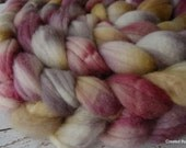 Superwash BFL 'Antique' OOAK colorway 4 oz hand dyed combed top spinning fiber, non-felting wool, kettle dyed, silver, gray, gold, maroon