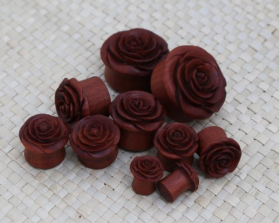 One Pair Saba Rose Plug Earrings Wood Plug Earrings