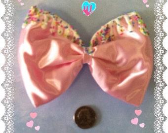 Light pink sprinkle cupcake hair bow