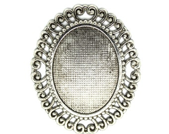 2 PC Vintage Style,  Antique Silver COLOR  Pendant Cabochon Settings. Ships from Los Angeles, CA.
