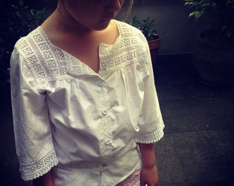 Edwardian 1910s French cotton handmade child's blouse