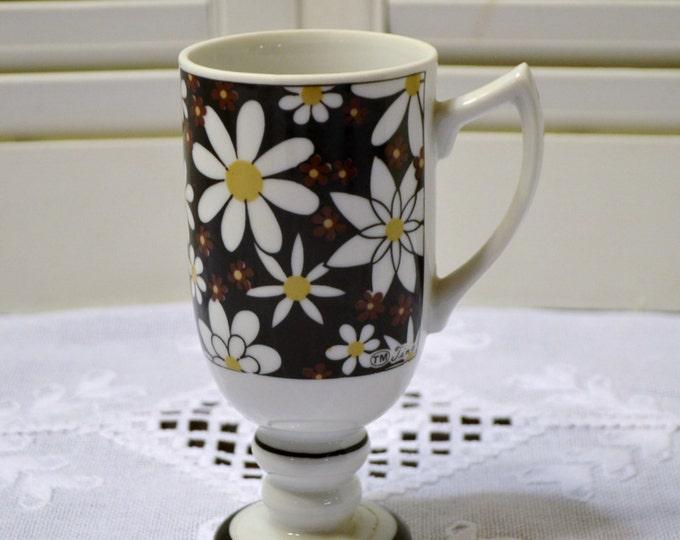 Vintage Royal Crown Smug Mug Footed Mug Star Flower Black White Flower Power  PanchosPorch