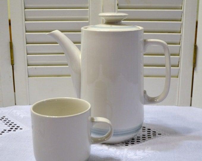 Vintage Impressions by Daniele Coffee Pot Teapot Coffee Pot White Blue Stripe Stoneware Japan PanchosPorch
