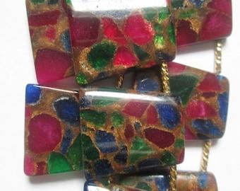 "Mosaic Agate Beads - 28 mm Beads - Full Strand 15 1/2"", 14 beads"