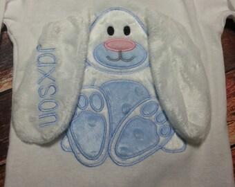 3d bunny shirt, Monogrammed Easter Bunny Applique Shirt, Girls Easter bunny shirt, floppy ear bunny shirt