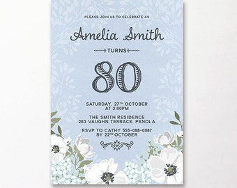 80th Birthday Invitation Floral Flowers Printable Suitable for 60th 80th 70th 50th 90th Ladies Milestone Birthday Painted Blue Lilac Mauve