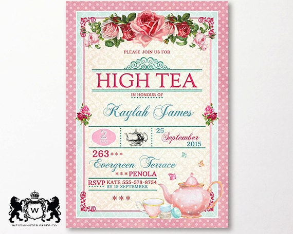 Printable Shabby Chic Wedding Invitation Templates – Tea Party Invitations Free Template