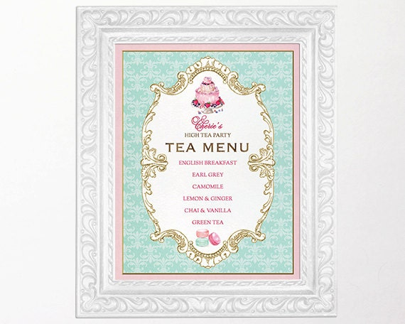items similar to high tea party menu sign kitchen tea With tea party menu template