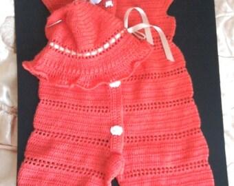 Вязаный   летний набор- комбинезон с панамой        Knitted summer set - сoveralls with hat