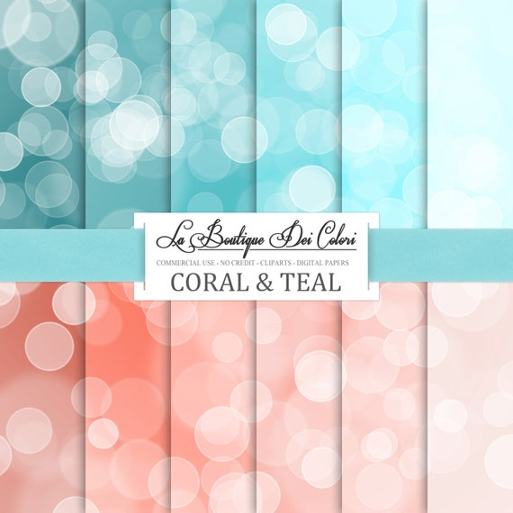Coral and teal Bokeh digital paper. Dots by ...