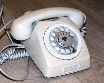 Working Vintage Rotary Phone Ivory Office Telephone Swedish Vintage Dial Desk Phone Collectible, 1970s, Vintage Gadget