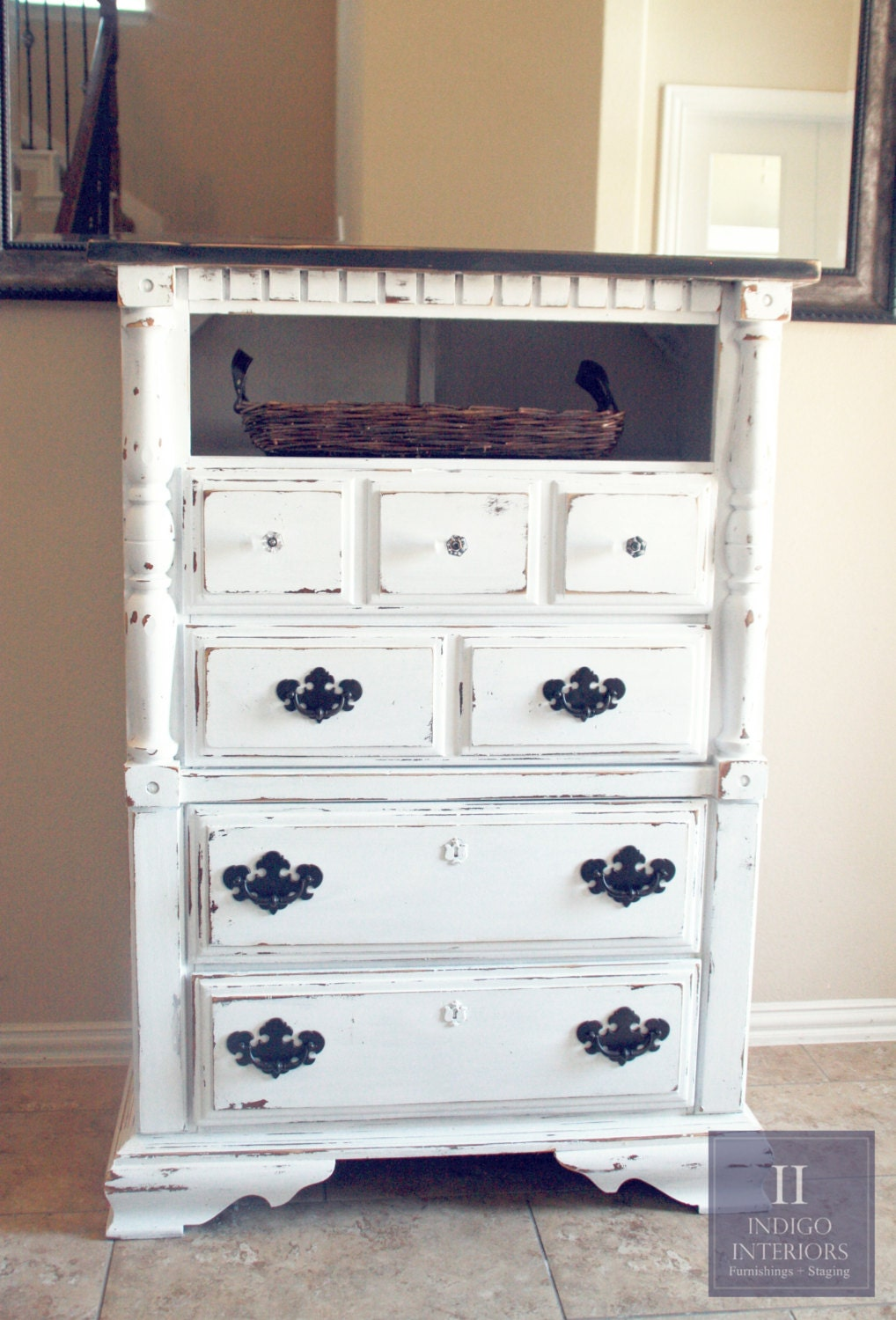 Distressed Black And White Tall Dresser Chest Haute Juice