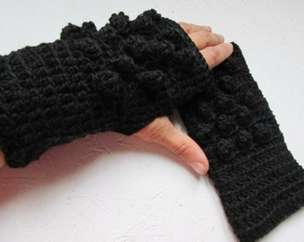 BLACK FRIDAY SALE! Ready to ship! Fingerless Gloves, Crocheted Arm Warmers black Accessory with Knitted Snowballs, Winter Accessories