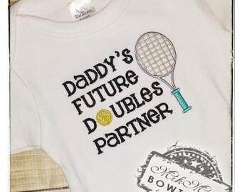 Daddy's Future Double's Partner, Tennis Baby, Tennis onesie, baby girl tennis