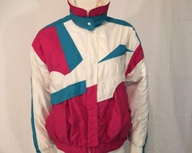 Roffe Skiwear Ski Snow Board Jacket Coat Vintage 80s Medium Size 12 Teal Pink White Made in USA