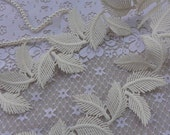 Cream Venice Lace Pretty Leaves Trim for DIY wedding, Bridal Sashes, Headbands, Altered Couture