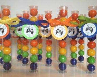 Video Game Party, Gamer party, Game Truck party, VideoGame Party Gumball Tube Party Favors, Personalized with Tags and Ribbon, Set of 12