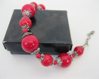 Vintage red beads white tone metal bracelet -  Red beads bracelet