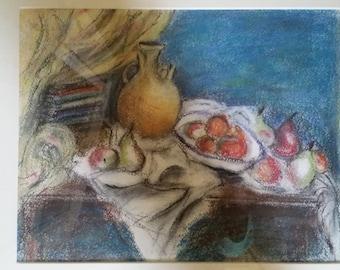 """Original pastel still life, framed sized 21"""" x 18.5""""."""