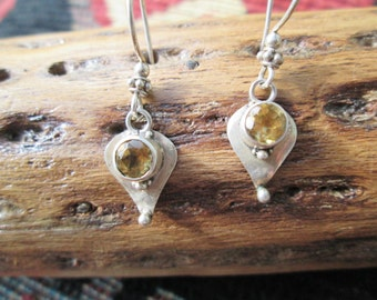 Citrine and Sterling Silver  Dangle Earrings