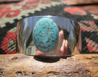 Vintage Danecraft Variscite and Sterling Silver Cuff Bracelet