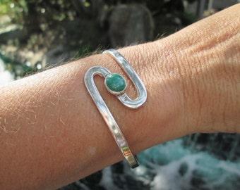 Modern Malachite and Sterling Cuff Bracelet