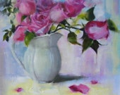 Rose day, Original oil painting on arches oil paper, 8.5 x 8.5 inches