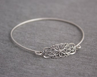 Sterling Silver Flower Bangle- Bracelet