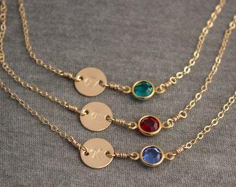 Gold Filled Personalized Initial Birthstone Bracelet- Bridesmaid Bracelet