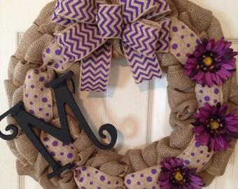 BURLAP CHEVRON WREATH , Polka Dot Initial Wreath, Front Door Wreath, Chevron Purple Wreath