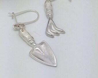 Handmade Sterling Silver Garden Trowel & Fork Drop Earrings