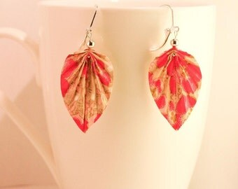Origami - palm leaf - cherry blossom earrings