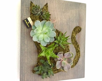 CUSTOM COLOR: Cat Succulent + Cacti Vertical Garden | Vertical Planter | Living Wall | Wall Planter | Hanging Planter | Wood Planter