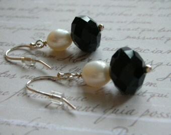 Black and White Earrings - Sterling Silver and Pearl