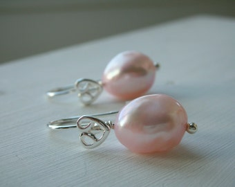 Pearl Earrings - Pale Pink Cultured Pearl Sterling Silver Earrings