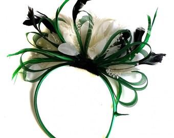 Emerald Green Hoop & Ivory Cream Fascinator On Headband