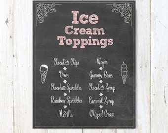 Custom Chalkboard Table Menu Sign - Personalized Party Ice cream topping menu - DIGITAL FILE!