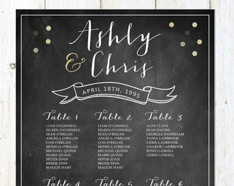 Sparkle Wedding Seating Chart - Chalkboard Table Seating chart - DIGITAL file!
