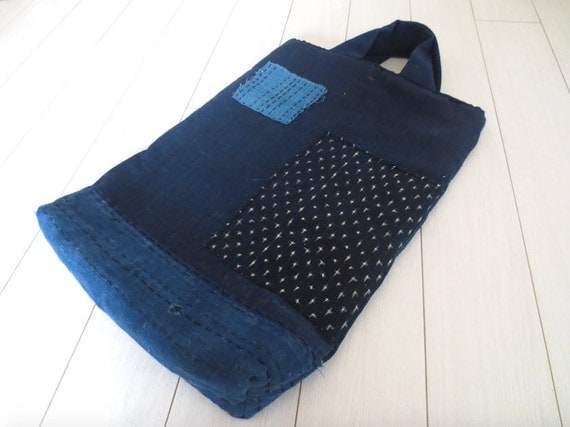 Hand stitched Antique Japanese Indigo hand held boro patched bag