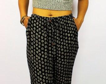Sunflower Print Trouser Pants - Vintage