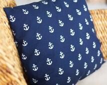 Navy Blue Anchor Pillow Cover - 16X16, 18X18, 20X20