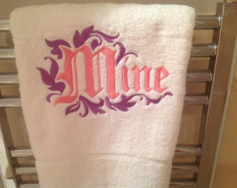 Pair handmade 'mine and yours' towels