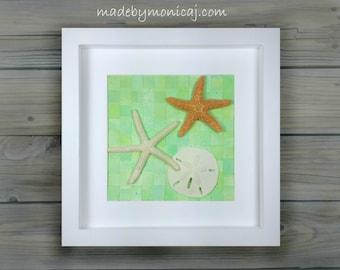 Beach Bedroom Decor.  Coastal Living.  Woven Paper Seashell Shadow Box Framed Art.  Housewarming Gift.