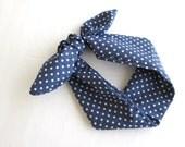 Tie up Headband, Head wrap, Headscarf, Dolly Bow, Tie up Headscarf, Blue Polka Dots print.