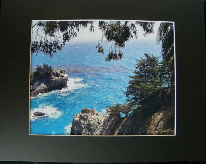 BLUE OCEAN Wall Decor by Pam's Fab Photos, Big Sur CA Panoramic Photo, Matted and Frame-Ready, Ocean-Lover Gift Idea