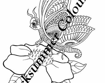 Butterfly Colouring Page - Print Handdrawn