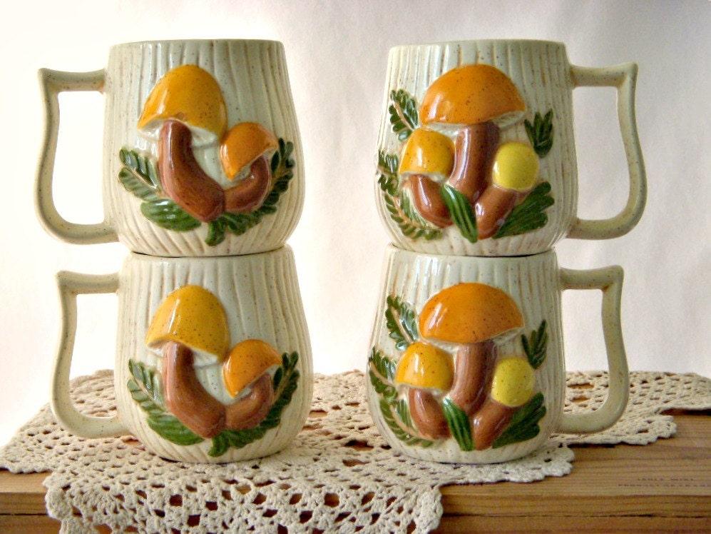 Retro 1970s Ceramic Mushroom Cups Kitsch Mushroom Ceramic